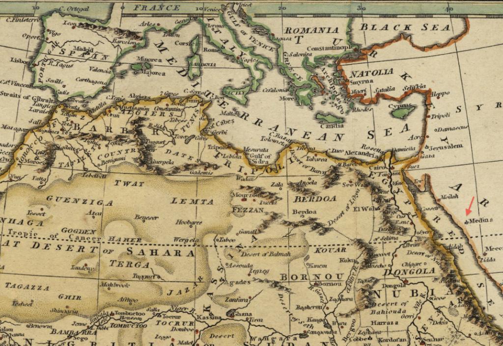 1808_Medina_map_Africa_by_Robert_Wilkinson_BPL_14643_detail